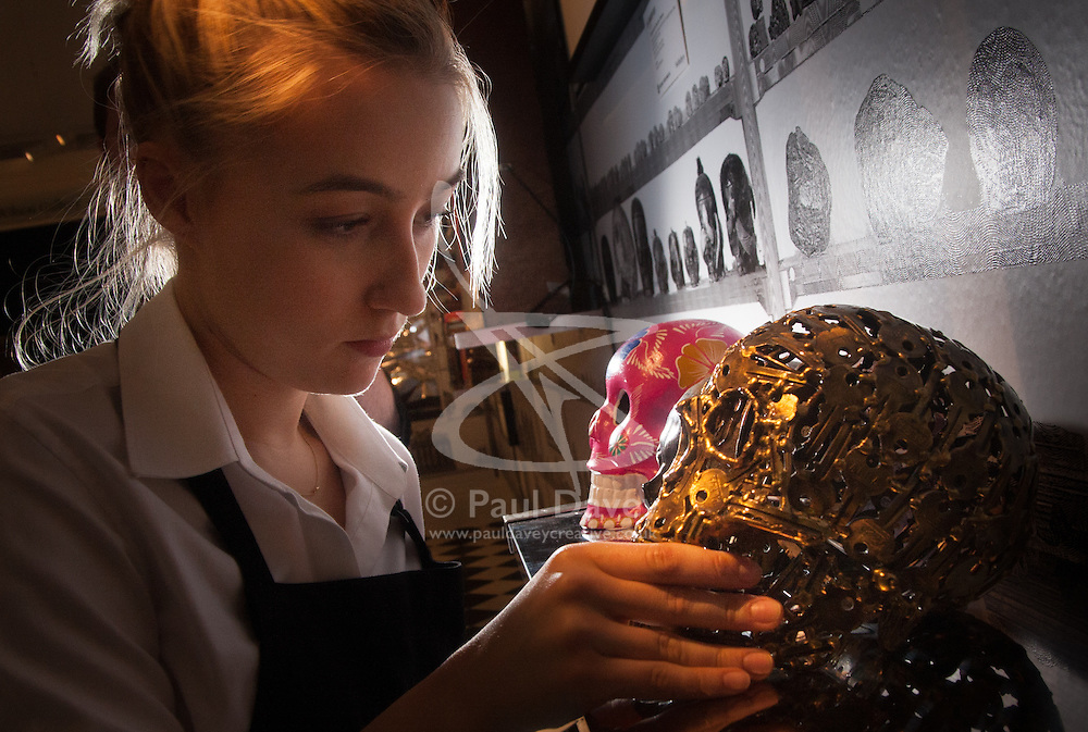 "London, March 4th 2015. Sotheby's in London hosts ""one of the most extraordinary collections of our time"", an anonymous collector's vast assembly of fine art pieces, including skulls, bear sculptures, paintings and installations. PICTURED: A Sotheby's gallery worker places a skull made of brass keys into a display."