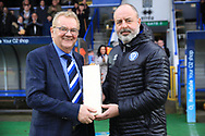 Keith Hill presents Chris Dunphy Rochdale chairman with a gift to mark his retirement as Chairman during the EFL Sky Bet League 1 match between Rochdale and Bradford City at Spotland, Rochdale, England on 29 December 2018.