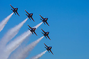 The Blue Angels delta at the Airshow of the Cascades.