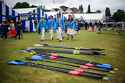 © Licensed to London News Pictures. 28/06/2017. London, UK. Spectators in colours of Tufts University in Boston, USA attend day one of the Henley Royal Regatta, set on the River Thames by the town of Henley-on-Thames in England.  Established in 1839, the five day international rowing event, raced over a course of 2,112 meters (1 mile 550 yards), is considered an important part of the English social season. Photo credit: Ben Cawthra/LNP