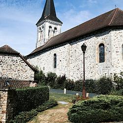 A view of the center of the village, including the church. Saint-Pierre-de-Frugie, France. July 12, 2019.<br /> Vue du centre du village, avec l'eglise. Saint-Pierre-de-Frugie, France. 12 juillet 2019.