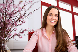 Young woman portrait receptionist pretty office