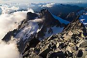 Rocky spires and jagged ridges below Eldorado Peak, North Cascades National Park, Washington.