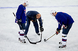 Andrej Hebar, Nik Zupancic and Sabahudin Kovacevic repairing ice during practice session of Slovenian National Ice Hockey team first time in Arena Stozice before 2012 IIHF World Championship DIV I Group A in Slovenia, on April 13, 2012, in Arena Stozice, Ljubljana, Slovenia. (Photo by Vid Ponikvar / Sportida.com)