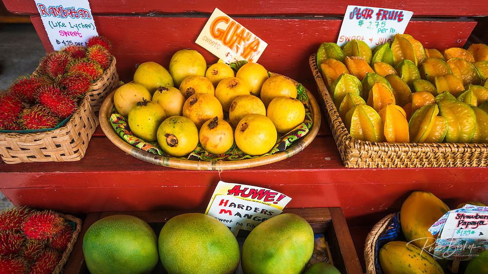 Fruits and vegetables at a local stand, Kona Coast, The Big Island, Hawaii USA