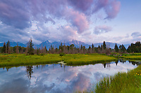 Schwabacher Landing at sunrise in Grand Teton National Park with the reflection of the mountains.