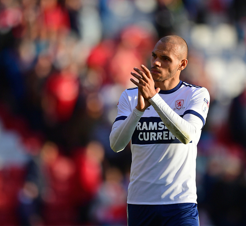 Middlesbrough's Martin Braithwaite applauds the fans at the final whistle <br /> <br /> Photographer Chris Vaughan/CameraSport<br /> <br /> The EFL Sky Bet Championship - Barnsley v Middlesbrough - Saturday 14th October 2017 - Oakwell - Barnsley<br /> <br /> World Copyright © 2017 CameraSport. All rights reserved. 43 Linden Ave. Countesthorpe. Leicester. England. LE8 5PG - Tel: +44 (0) 116 277 4147 - admin@camerasport.com - www.camerasport.com
