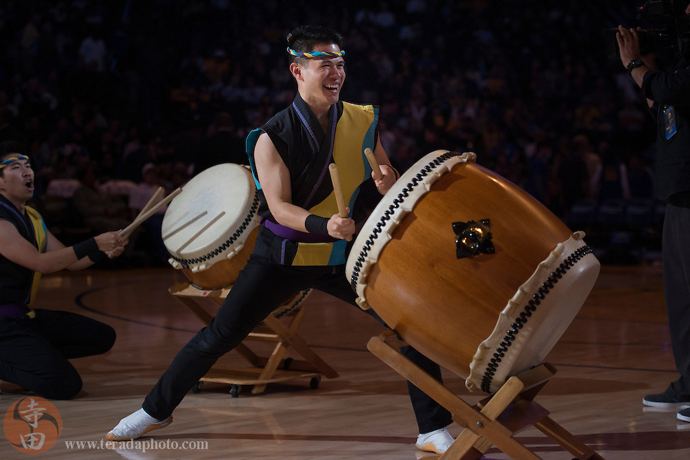November 17, 2015; Oakland, CA, USA; San Jose Taiko drummer Craig Wong performs during halftime of a NBA basketball game between the Golden State Warriors and the Toronto Raptors at Oracle Arena. The Warriors defeated the Raptors 115-110.