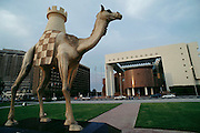 Camel statue in a park near the harbor. Dubai, United Arab Emirates.