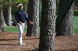Fred Couples asks for an official's assistance after hitting his ball into the rough along the 13th fairway during the second round of the Masters Tournament at Augusta National Golf Club in Augusta, Ga., on Friday, April 7, 2017. (Photo by Jeff Siner/Charlotte Observer/TNS)  *** Please Use Credit from Credit Field ***