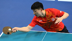 February 23, 2018 - London, England, United Kingdom - Long Ma of China.during 2018 International Table Tennis Federation World Cup match between Long Ma of China  against scores his sides second goal  at Copper Box Arena, London  England on 23 Feb 2018. (Credit Image: © Kieran Galvin/NurPhoto via ZUMA Press)