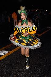 Young woman in fancy costume at Carnival; Havana; Cuba,