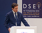 London, United Kingdom - 12 September 2019<br /> Johnny Mercer MP, Parliamentary Under-Secretary of State for Defence People and Veterans for the UK Government gives a keynote address speech and answers questions from the audience at DSEI 2019 security, defence and arms fair at ExCeL London exhibition centre.<br /> (photo by: EQUINOXFEATURES.COM)<br /> Picture Data:<br /> Photographer: Equinox Features<br /> Copyright: ©2019 Equinox Licensing Ltd. +443700 780000<br /> Contact: Equinox Features<br /> Date Taken: 20190912<br /> Time Taken: 10174649<br /> www.newspics.com