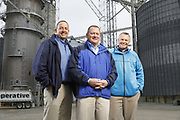 SHOT 10/29/18 9:45:46 AM - Sunrise Cooperative is a leading agricultural and energy cooperative based in Fremont, Ohio with members spanning from the Ohio River to Lake Erie. Sunrise is 100-percent farmer-owned and was formed through the merger of Trupointe Cooperative and Sunrise Cooperative on September 1, 2016. Photographed at the Clyde, Ohio grain elevator was George D. Secor President / CEO and John Lowry<br /> Chairman of the Board of Directors with  CoBank RM Gary Weidenborner. (Photo by Marc Piscotty © 2018)