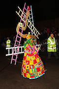 The winning entry in the junior single masquerader class for in 2011, Upzndownz. Bridgwater Carnival is an annual event to raise money for local charities. It is widely reputed to be the largest illuminated carnival in the world.