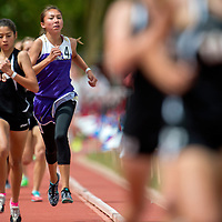 051615       Cable Hoover<br /> <br /> Kirtland Central Bronco Lakyla Yazzie works her way through the pack in the 1600m race during the New Mexico State Track Meet Saturday at the University of New Mexico Stadium in Albuquerque.