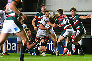 Jordy Reid of Gloucester Rugby is tackled by Richard Wigglesworth of Leicester Tigers during the Gallagher Premiership Rugby match between Leicester Tigers and Gloucester Rugby at Welford Road Stadium, Leicester, United Kingdom on 21 November 2020.