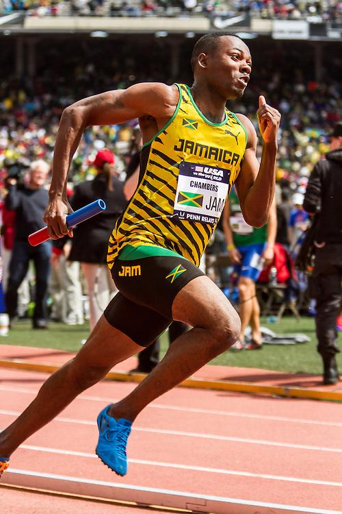 Penn Relays, USA vs the World, mens 4x400 relay, Richardo Chambers, Jamaica