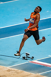 Antonny Ediagbonya in action on the long jump during AA Drink Dutch Athletics Championship Indoor on 21 February 2021 in Apeldoorn.