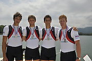 Banyoles, SPAIN, GBR M4X, Charles COUSINS, Marcus BATEMAN, Bill LUCAS and Sam TOWNSEND, Silver Medalist Men's Quadruple Sculls.   FISA World Cup Rd 1. Lake Banyoles.  Sunday,  31/05/2009   [Mandatory Credit. Peter Spurrier/Intersport Images]