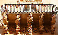 Baroque Sicilian Balcony with sculpted decorated corbels - The Villadorata palace, Noto, Sicily. UNESCO World Heritage Site<br /> <br /> USEFUL LINKS:<br /> Wikipedia https://en.wikipedia.org/wiki/Sicilian_Baroque<br /> Wikipedia https://en.wikipedia.org/wiki/Noto .<br /> <br /> Visit our SICILY HISTORIC PLACES PHOTO COLLECTIONS for more   photos  to download or buy as prints https://funkystock.photoshelter.com/gallery-collection/2b-Pictures-Images-of-Sicily-Photos-of-Sicilian-Historic-Landmark-Sites/C0000qAkj8TXCzro<br /> .<br /> <br /> Visit our EARLY MODERN ERA HISTORICAL PLACES PHOTO COLLECTIONS for more photos to buy as wall art prints https://funkystock.photoshelter.com/gallery-collection/Modern-Era-Historic-Places-Art-Artefact-Antiquities-Picture-Images-of/C00002pOjgcLacqI