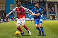 Fleetwood Town forward Chris Long (14) and Gillingham FC defender Barry Fuller (12) during the EFL Sky Bet League 1 match between Gillingham and Fleetwood Town at the MEMS Priestfield Stadium, Gillingham, England on 3 November 2018.<br /> Photo Martin Cole