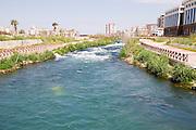 Turkey, Antalya, Lower Duden River before it plunges 40 meters into the mediterranean sea