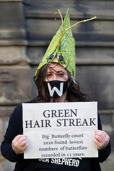Extinction Rebellion demonstration highlighting wildlife species decline in Edinburgh, Scotland, UK