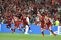 KIEV, UKRAINE - MAY 26: Dejan Lovren of Liverpool celebrates a goal during the UEFA Champions League final between Real Madrid and Liverpool at NSC Olimpiyskiy Stadium on May 26, 2018 in Kiev, Ukraine. (MB Media)