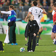 The match ball is delivered before kick off during the South Africa V Samoa, Pool D match during the IRB Rugby World Cup tournament. North Harbour Stadium, Auckland, New Zealand, 30th September 2011. Photo Tim Clayton...