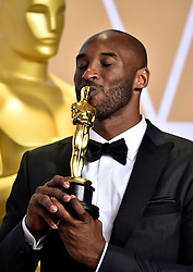 March 4, 2018 - Los Angeles, California, USA - 3/4/18.Kobe Bryant winner of the award for Best Animated Short Film for ''Dear Basketball'' at the 90th Annual Academy Awards (Oscars) presented by the Academy of Motion Picture Arts and Sciences..(Hollywood, CA, USA) (Credit Image: © Starmax/Newscom via ZUMA Press)