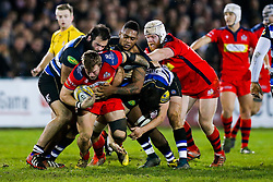 Bristol United Flanker Max Crumpton is tackled by Bath United Prop Kane Palma-Newport and Flanker Levi Douglas - Mandatory byline: Rogan Thomson/JMP - 28/12/2015 - RUGBY UNION - The Recreation Ground - Bath, England - Bath United v Bristol United - Aviva A League.
