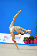 Neta Rivkin during qualifying at ball in Pesaro World Cup at Adriatic Arena on 10 April 2015. Neta was born on June 23, 1991 in Petah Tiqwa Israel. <br /> She is one of Israel's most successful rhythmic gymnasts.