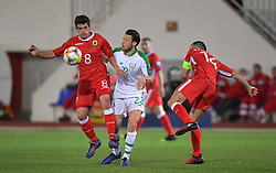 Republic of Ireland's Harry Arter and Gibraltar's Anthony Bardon (left) battle for the ball during the UEFA Euro 2020 Qualifying, Group D match at the Victoria Stadium, Gibraltar.
