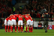 Wales players huddle together ahead of k/o. Wales v Rep of Ireland , FIFA World Cup qualifier , European group D match at the Cardiff city Stadium in Cardiff , South Wales on Monday 9th October 2017. pic by Andrew Orchard, Andrew Orchard sports photography