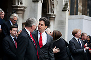 Ed Miliband, leader of the Labour Party. The funeral of Tony Benn The funeral of Tony Benn at St Margaret's Church Westminster Abbey. Tony Benn was a politician, MP and peace activist fighting for social justice.