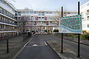 Churchill Gardens on 11th February 2016 in London, United Kingdom. Churchill Gardens is a large housing estate in the Pimlico area of Westminster, London. The estate was developed between 1946 and 1962. Designed by the architects Powell and Moya, it replaced Victorian terraced houses extensively damaged during the Blitz.
