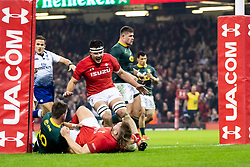Tomas Francis of Wales scores his sides first try<br /> <br /> Photographer Simon King/Replay Images<br /> <br /> Under Armour Series - Wales v South Africa - Saturday 24th November 2018 - Principality Stadium - Cardiff<br /> <br /> World Copyright © Replay Images . All rights reserved. info@replayimages.co.uk - http://replayimages.co.uk