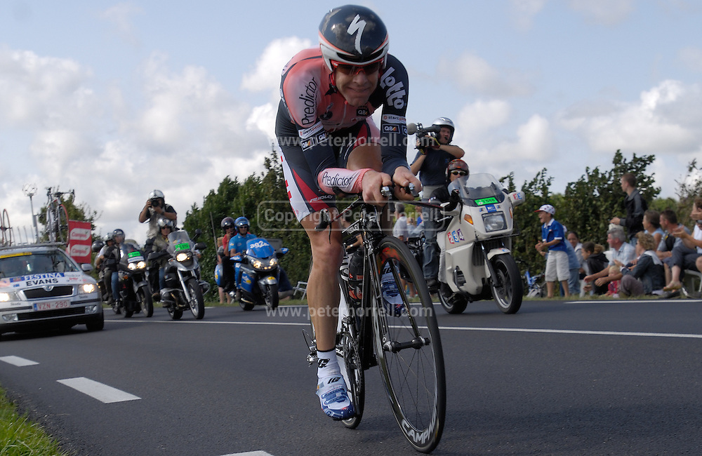 FRANCE 28th JULY 2007: Predictor Lotto's Cadel Evans was the pen ultimate starter on the final time trial of the 2007 Tour de France.