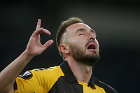 ATHENS, GREECE - OCTOBER 29: Muamer Tankovicof AEK Athens celebrates his own goal during the UEFA Europa League Group G stage match between AEK Athens and Leicester City at Athens Olympic Stadium on October 29, 2020 in Athens, Greece. (Photo by MB Media)