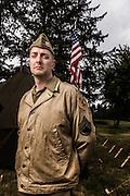 USA, Oregon, Astoria, Ft. Stevens State Park, living historian Staff Sergeant. MR