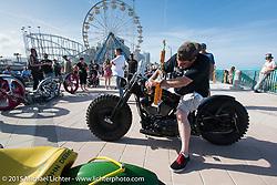 Germany's Thunder Bike entry heads to Main Street with a big Trophy after the Boardwalk Classic Bike Show during Daytona Beach Bike Week. Daytona Beach, FL, USA. March 13, 2015.  Photography ©2015 Michael Lichter.