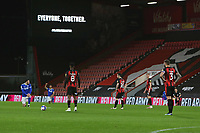 Football - 2020 / 2021 Sky Bet Championship - AFC Bournemouth vs. Cardiff City - The Vitality Stadium<br /> <br /> The Bournemouth players all stay standing whilst the Cardif players take a knee at the Vitality Stadium (Dean Court) Bournemouth <br /> <br /> COLORSPORT/SHAUN BOGGUST