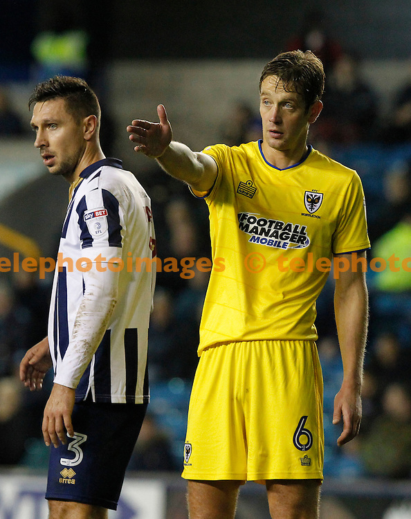 Ex-Millwall now AFC Wimbledon's Paul Robinson seen during the Sky Bet League 1 match between Millwall and AFC Wimbledon at The Den in London. November 22, 2016.<br /> Carlton Myrie / Telephoto Images<br /> +44 7967 642437