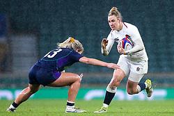 Sarah McKenna of England Women takes on Hannah Smith of Scotland Women - Mandatory by-line: Robbie Stephenson/JMP - 16/03/2019 - RUGBY - Twickenham Stadium - London, England - England Women v Scotland Women - Women's Six Nations