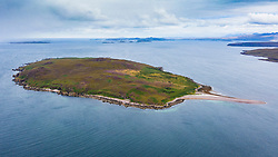 Aerial view of Gruinard Island in Gruinard Bay in Ross and Cromarty, Scotland, UK