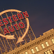 The old Western Auto sign in downtown Kansas City, Missouri.