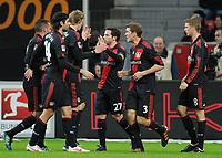 Fotball<br /> Tyskland<br /> 18.02.2012<br /> Foto: Witters/Digitalsport<br /> NORWAY ONLY<br /> <br /> 2:1 Jubel v.l. Renato Augusto, Vedran Corluka, Stefan Kiessling, Torschuetze Gonzalo Castro, Stefan Reinartz, Lars Bender (Leverkusen)<br /> Bundesliga, Bayer 04 Leverkusen - FC Augsburg 4:1