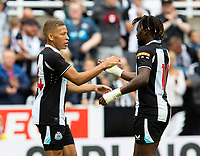 Football - 2021 / 2022 - Pre-Season Friendly - Newcastle United vs Norwich City - St James Park - Saturday 7th August 2021<br /> <br /> Dwight Gayle of Newcastle United celebrates scoring to make it 3-0 to Newcastle<br /> <br /> Credit: COLORSPORT/Bruce White