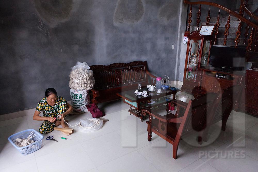 Le Thi Tam manufactures cat toys intended for export to Japan, Tam Quang commune, Vu Thư District, Thai Binh Province, Vietnam, Southeast Asia
